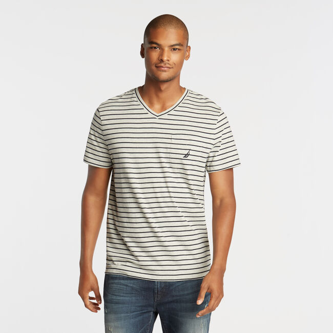 aaf15057f8f7 CLASSIC STRIPE V-NECK POCKET T-SHIRT - Grey Heather, XS | Nautica