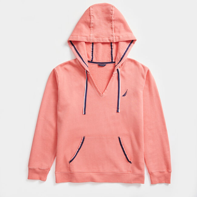 V-NECK PULLOVER HOODIE,Pale Coral,large