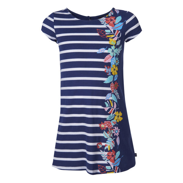 GIRLS' STRIPED FLORAL PRINT DRESS (8-20) - Aqua Isle