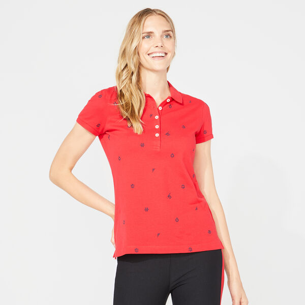 CLASSIC FIT NAUTICAL ICON PRINT POLO - Tomales Red
