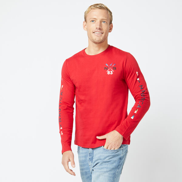 CROSSED OARS CREWNECK LONG SLEEVE T-SHIRT - Nautica Red