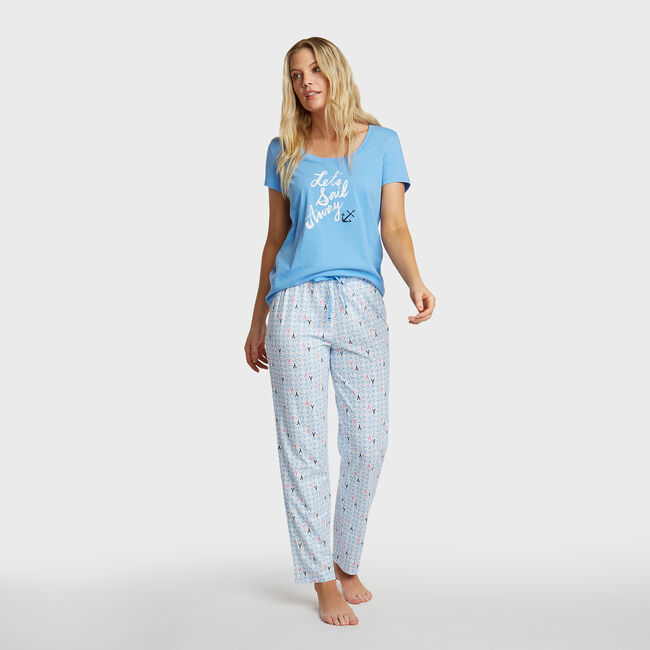 Lobster Geo Print Pajama Set,Chalk,large