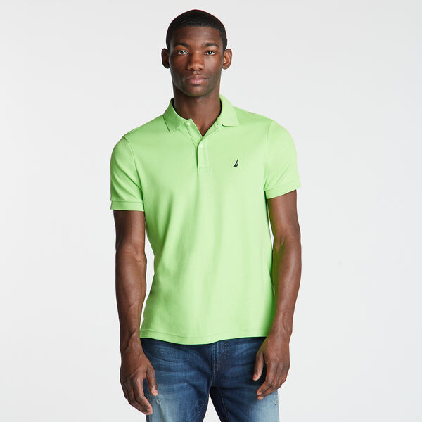 Slim Fit Solid Interlock Cotton Polo - Freshlime