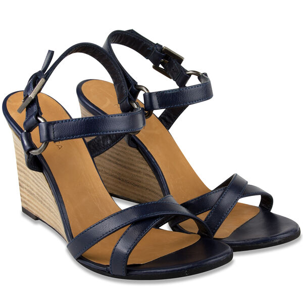 Isabella Strappy Leather Wedge - Navy