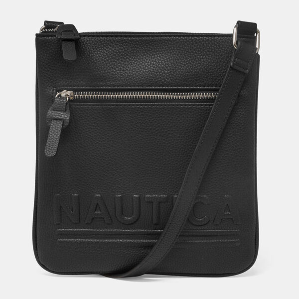 LOGO-EMBOSSED PEBBLED CROSSBODY BAG - True Black