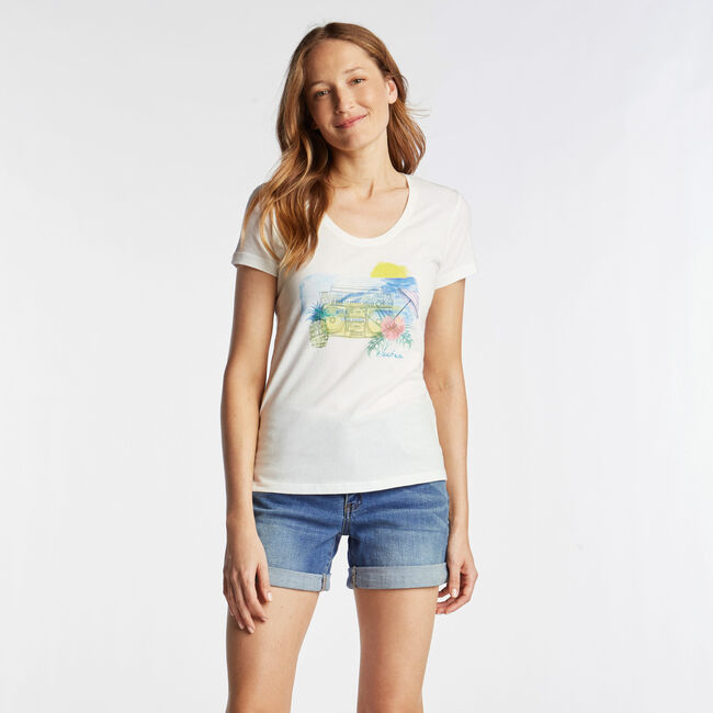 SCOOP NECK T-SHIRT IN WATERCOLOR GRAPHIC,Bright White,large