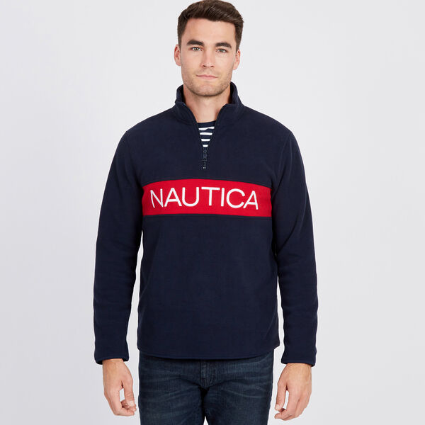 Chest Logo Nautex Quarter-Zip Active Pullover - Navy