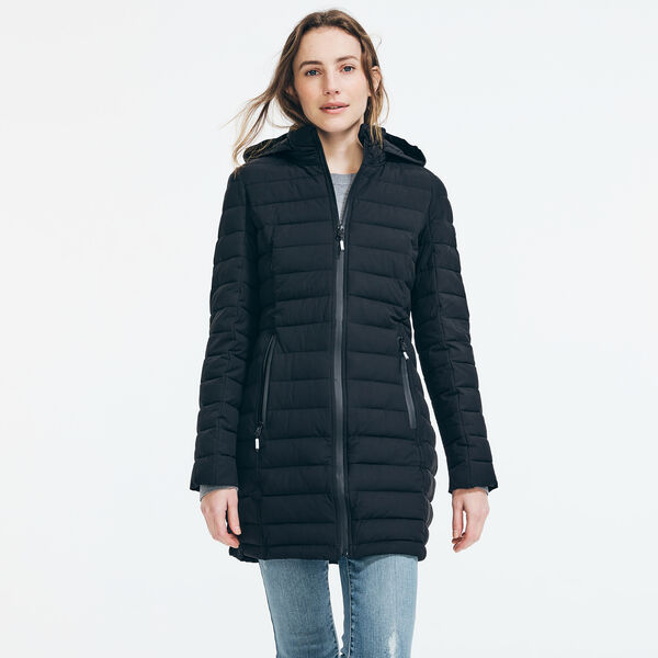 LIGHTWEIGHT QUILTED STRETCH HOODED COAT - True Black
