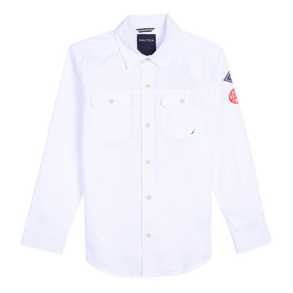 Little Boys' Kelvin Double Pocket Long Sleeve Shirt (4-7) - White