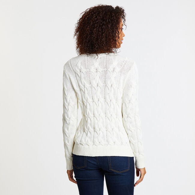 Long Sleeve Cable-Knit Boatneck Sweater,Marshmallow,large