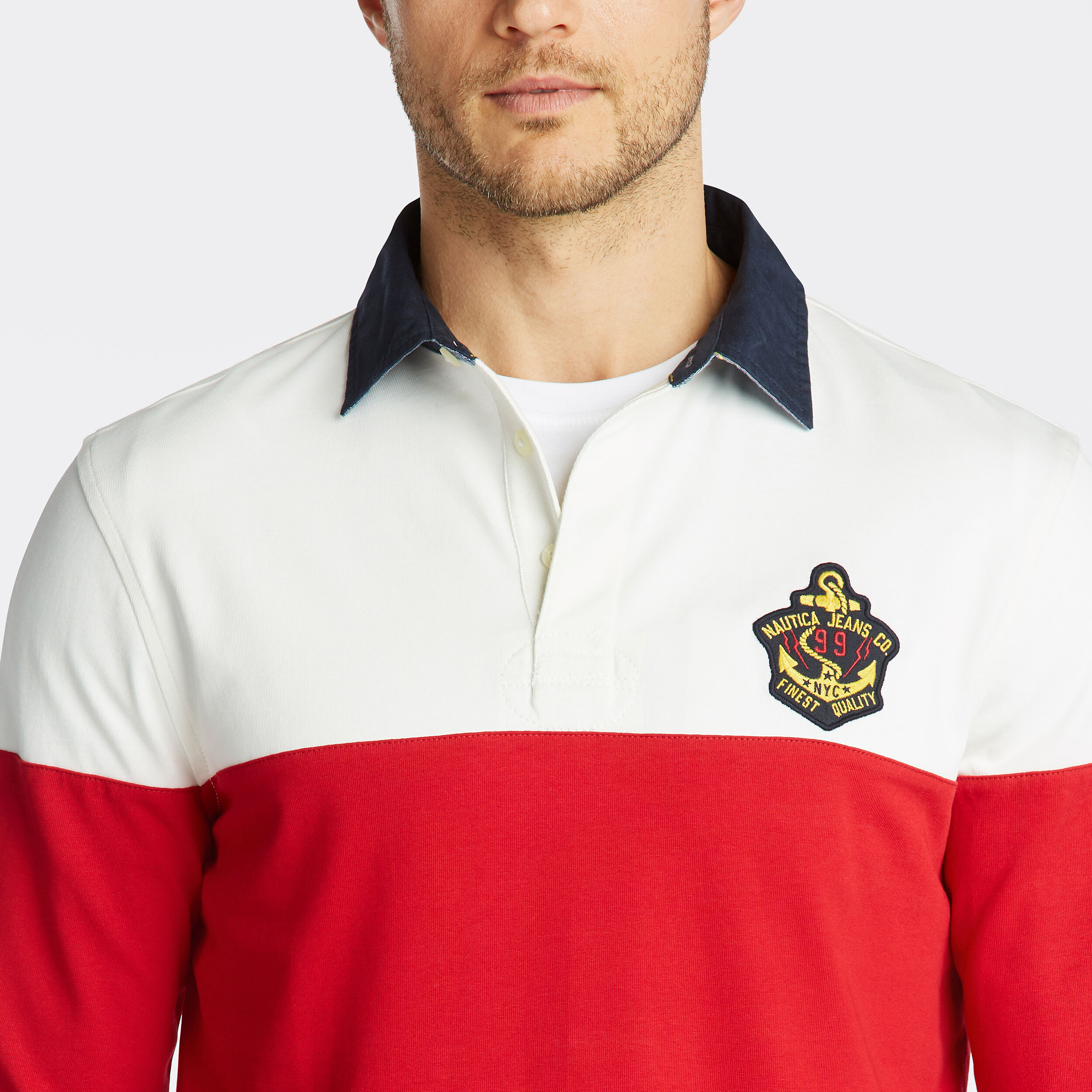 Nautica Boys Uniform Long Sleeve Rugby Polo