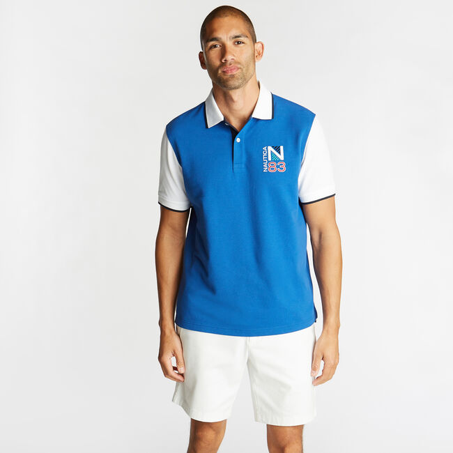 CLASSIC FIT CONTRAST COLLAR POLO,Windsurf Blue,large