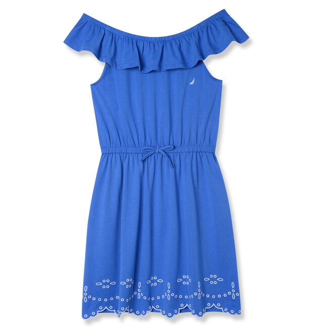 Little Girls' Jersey Ruffle Neck Embroidered Hem Dress (4-6X),Classic Blue,large