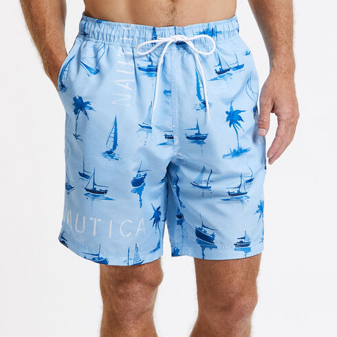 Swim Trunk in Boat & Palm Print - Big Blue Wave