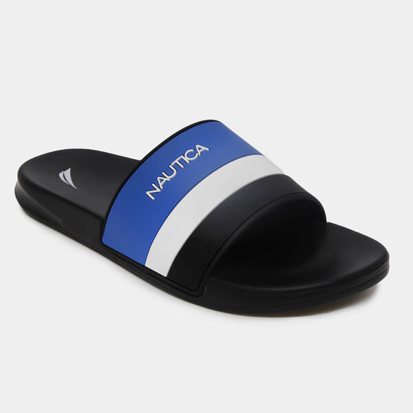 COLORBLOCK STRIPE LOGO SLIDE SANDALS - True Black