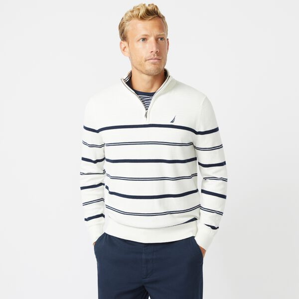 NAVTECH STRIPED QUARTER-ZIP SWEATER - Marshmallow