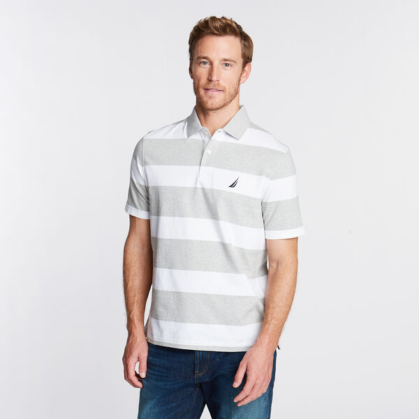 Stripe Classic Fit Polo - Grey Heather