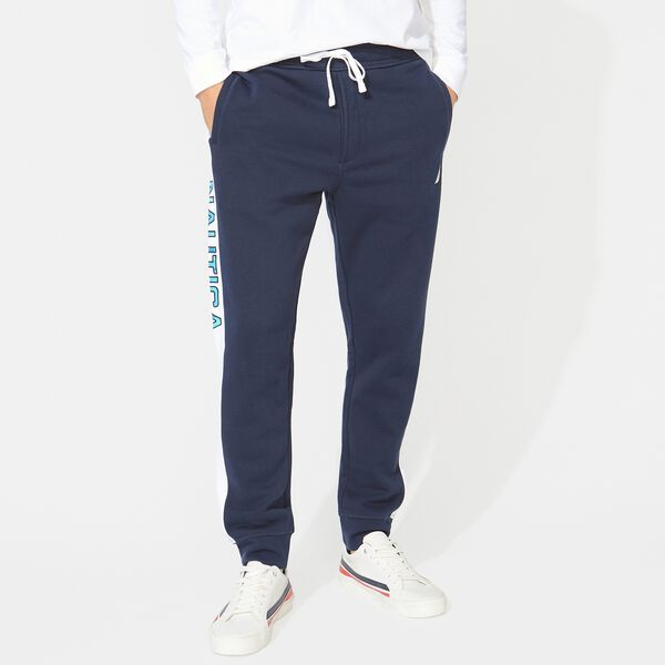 BIG & TALL SIDE STRIPE LOGO TRACK PANTS - Navy