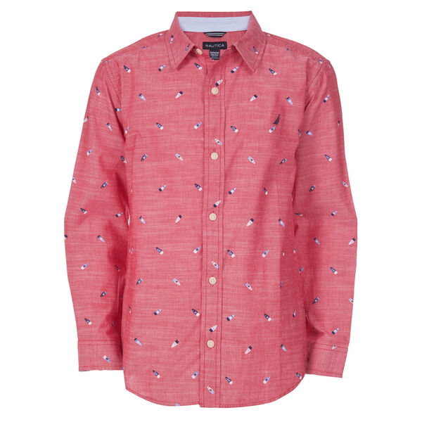 BOYS' ALVIN CHAMBRAY PRINTED WOVEN SHIRT (8-20) - Melonberry