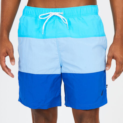 Drawstring Swim Short in Colorblock - Lake Mist