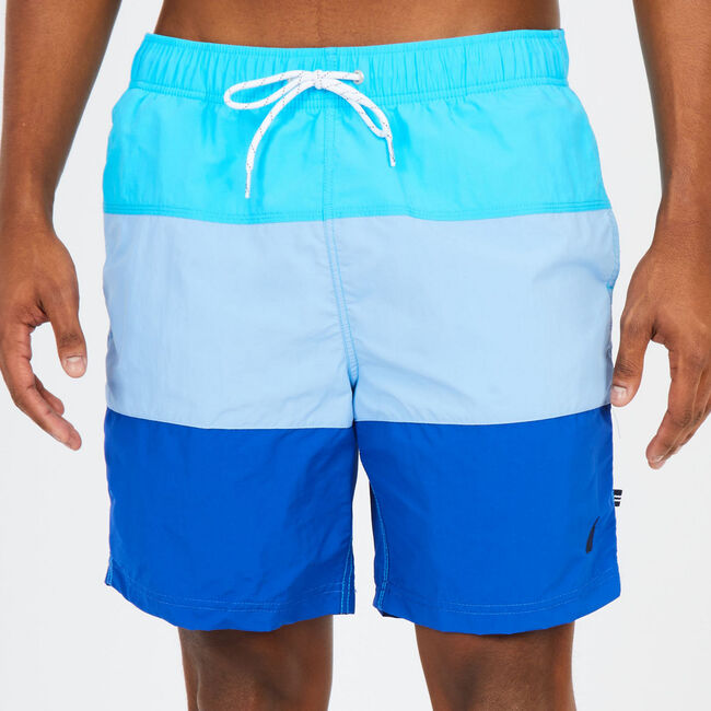 "8"" SWIM SHORT IN COLORBLOCK,Lake Mist,large"