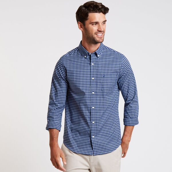 Wrinkle-Resistant Poplin Shirt in Plaid - Monaco Blue