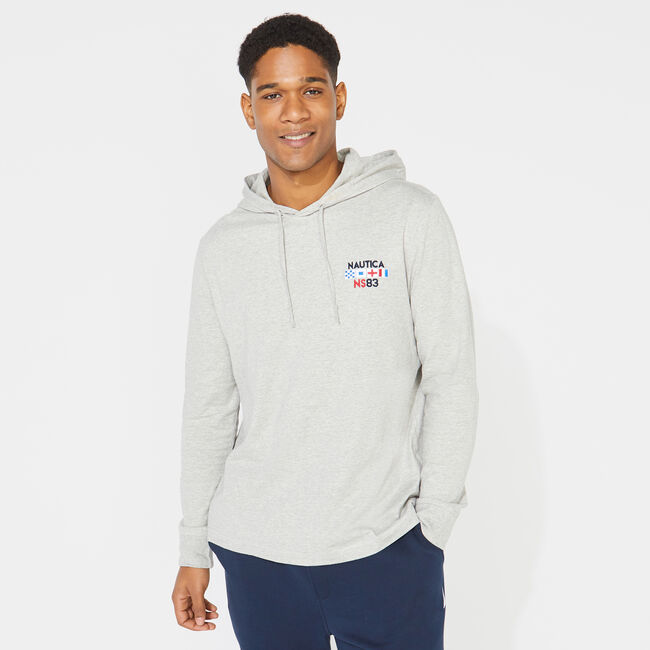 GRAPHIC PULLOVER T-SHIRT HOODIE,Grey Heather,large