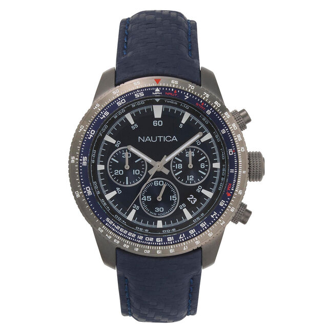 Pier 39 Chronograph Watch with Leather Band,Multi,large