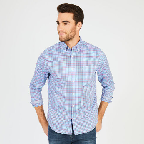 Big & Tall Wrinkle-Resistant Classic Fit Long Sleeve Plaid Shirt - Riviera Blue