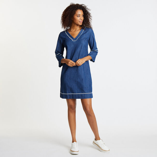 Embroidered V-Neck Dress,Peri Cove Blue,large
