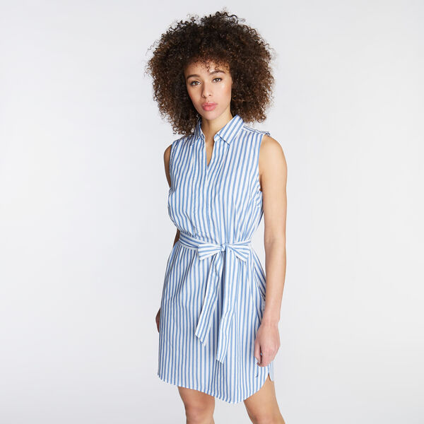 A-LINE POPLIN DRESS IN STRIPE - Dock Blue