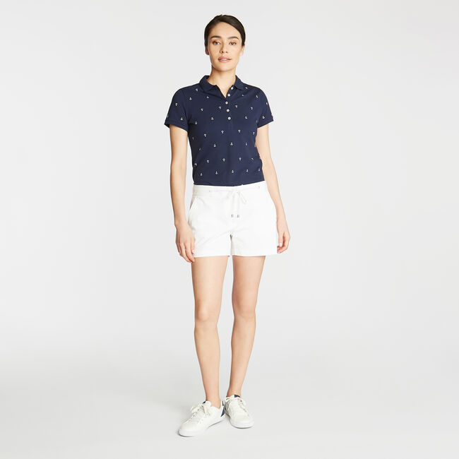 Anchor Motif Classic Fit Short Sleeve Polo,Stellar Blue Heather,large