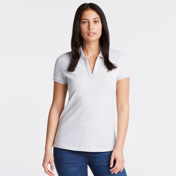 Split-Neck Classic Fit Polo Shirt - Haze Grey Heather