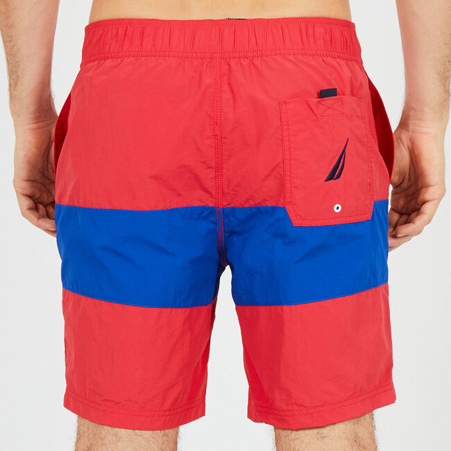 Drawstring Swim Trunk in Colorblock,Buoy Red,large