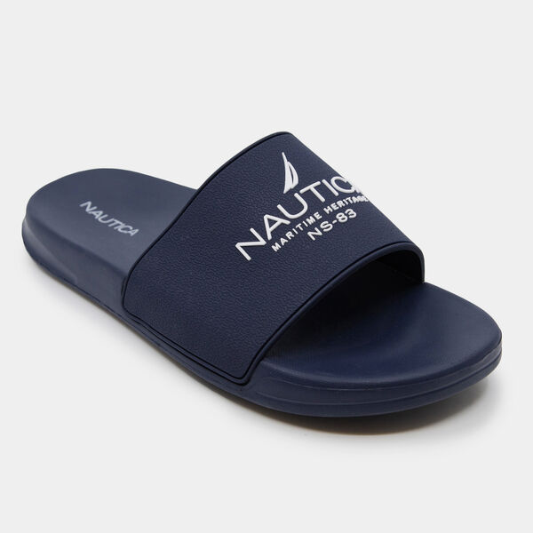 MARITIME LOGO SLIDE SANDALS - Navy