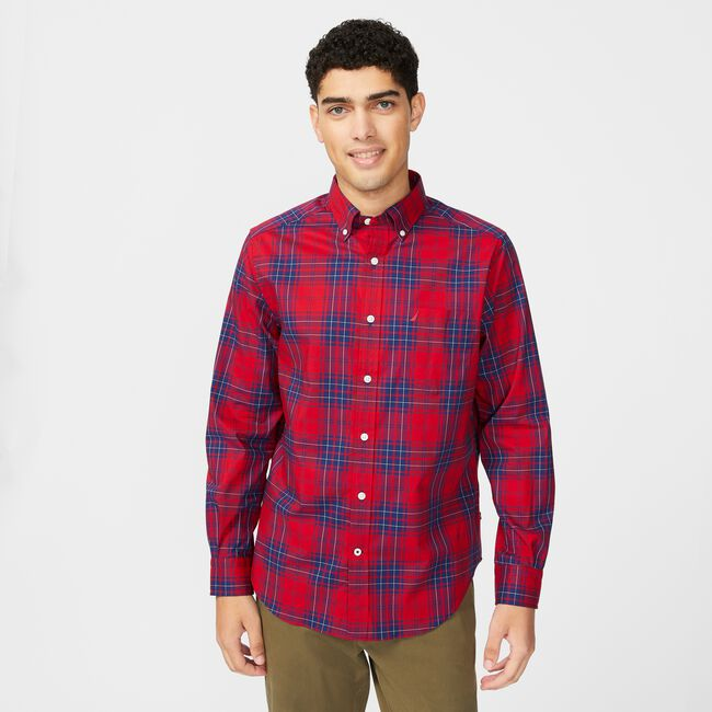 WRINKLE-RESISTANT PLAID SHIRT,Nautica Red,large