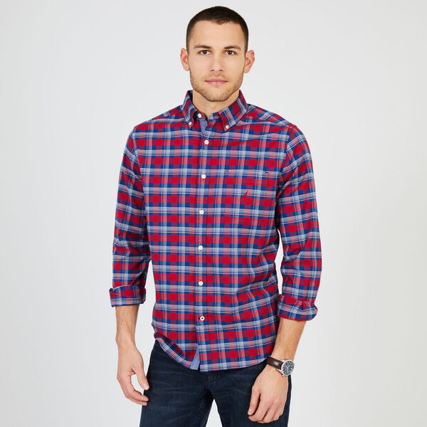 Plaid Classic Fit Oxford Long Sleeve Shirt - Rescue Red