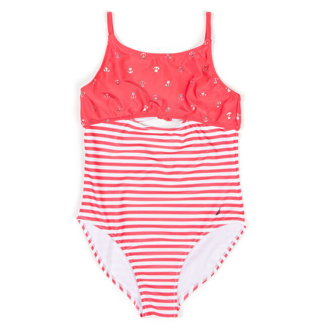 Girls' Anchor + Striped One-Piece Swimsuit (7-16),Pomegranate,large