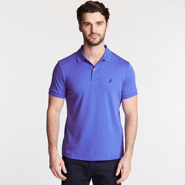 SLIM FIT INTERLOCK POLO - Cobalt Wave
