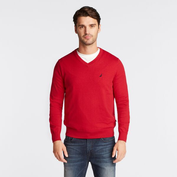 NAVTECH J-CLASS V-NECK SWEATER - Nautica Red