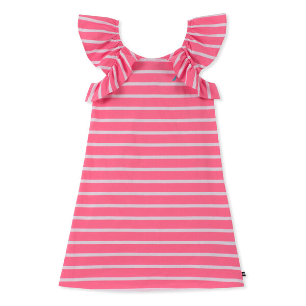 Girls' Stripe Dress With Ruffles - Pale Pink