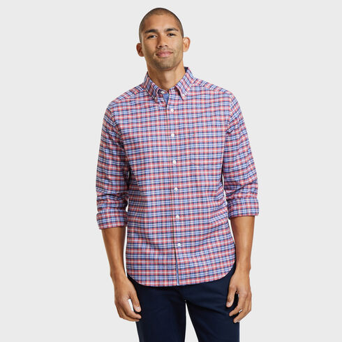 LONG SLEEVE CLASSIC FIT OXFORD SHIRT IN MEDIUM  PLAID  - Coral Cape