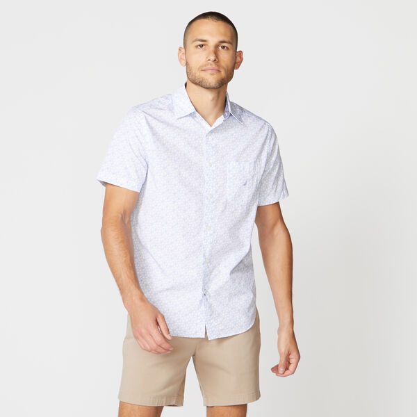 CLASSIC FIT ANCHOR PRINT POPLIN SHIRT - Bright White