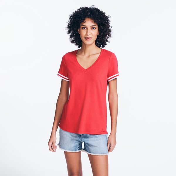 RIB-TRIM V-NECK TOP - Buoy Red
