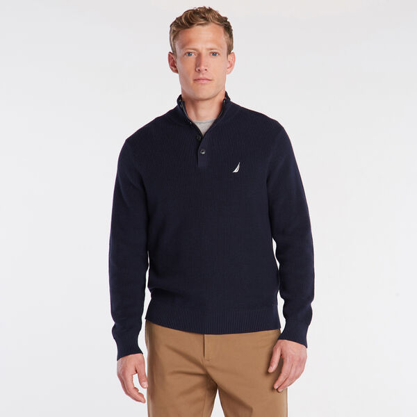 BUTTON MOCK NECK SWEATER - Pure Dark Pacific Wash