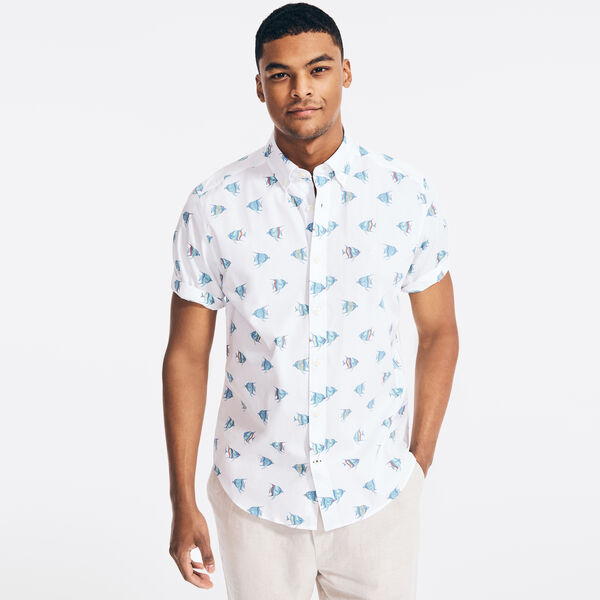 CLASSIC FIT STRETCH FISH PRINT SHIRT - Bright White