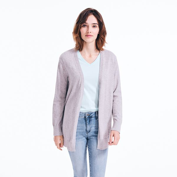 V-NECK OPEN FRONT CARDIGAN - Fog