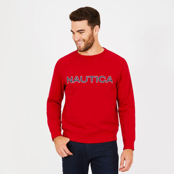 Long Sleeve Fleece Crewneck Sweatshirt - Nautica Red