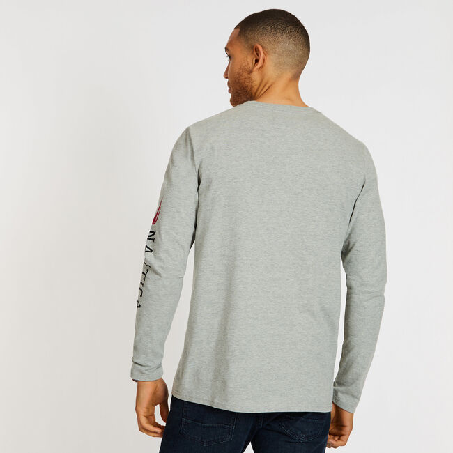 Crossed Oars Long Sleeve Crewneck T-Shirt,Grey Heather,large