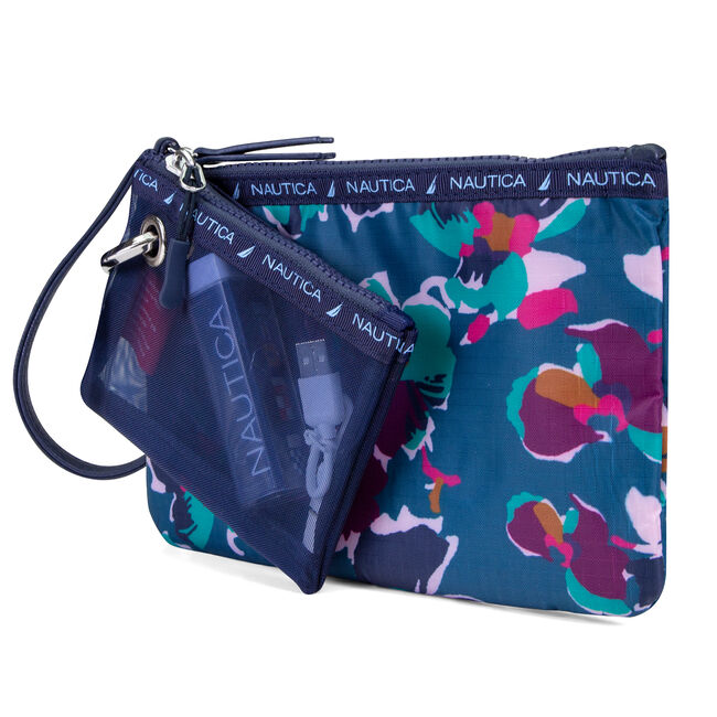 Captain's Quarters 2-Piece Wristlet with Battery Charger - Floating Floral,Majestic Purple,large